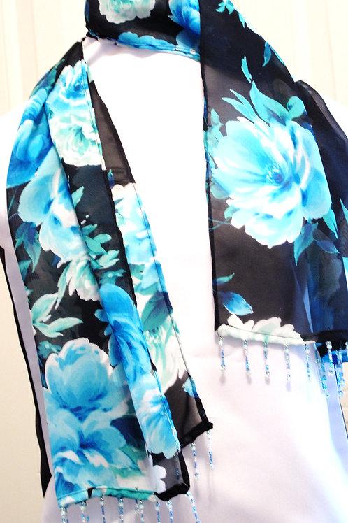 Blue Floral Chiffon Scarf