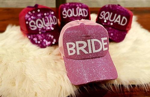Bride & Squad Glitter Hat