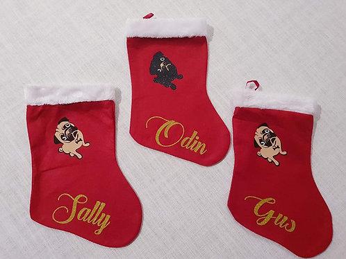 Personalised Pug  Christmas Stocking