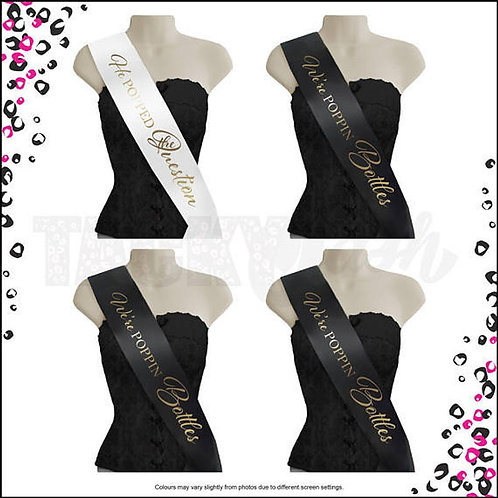 """Popped the Question & Bottles"" Printed Sash"