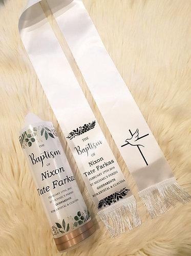 """""""Olive"""" Baptism Stole & Candle set"""