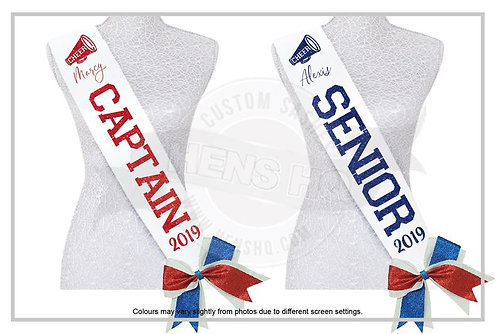"""Cheer Captain & Senior"" Glitter Sash"