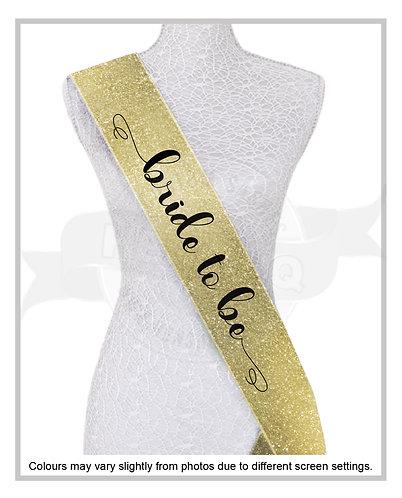 """Curly Future Mrs & Bride to be"" FULL GLITTER SASH"