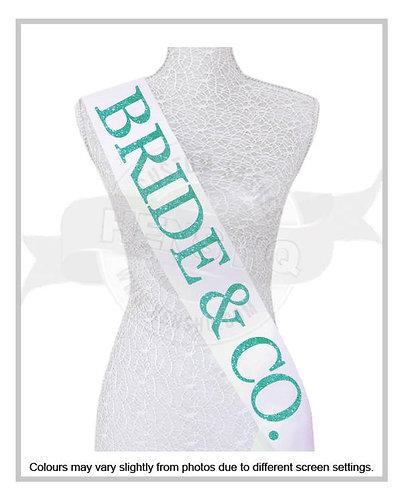 """Tiffany Inspired Bride & CO"" Glitter Hens & Bridal Shower Sash"