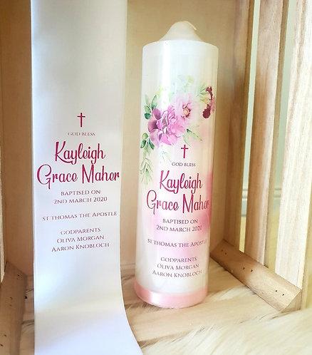 """""""Pink Flourish"""" Baptism Stole & Candle set"""