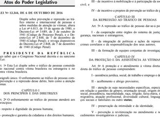 Direto do forno: publicada a Lei 13.344/16, que dispõe sobre o tráfico de pessoas