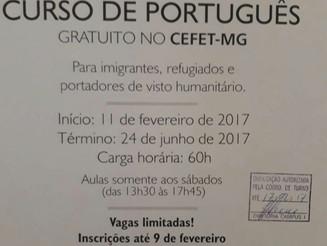 Curso de português gratuito para imigrantes e refugiados