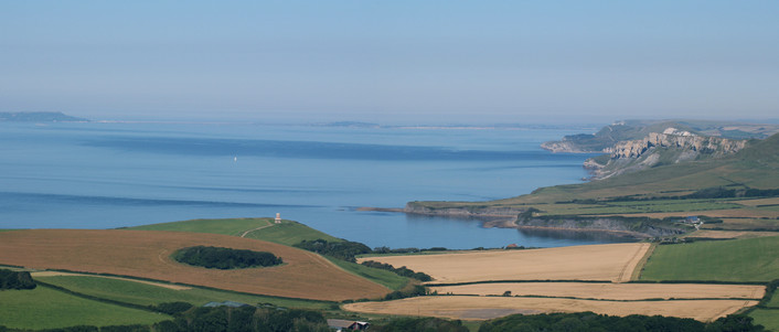 Clavell's Tower, Kimmeridge Bay looking towards Portland