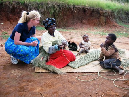 Gogo weaving grass mats for income