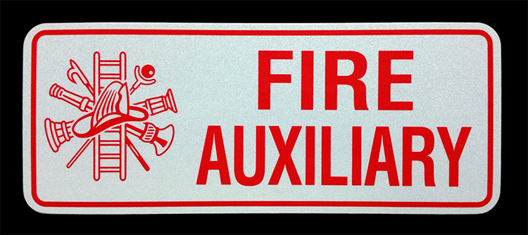 Fire Aux. Reflective License Plate