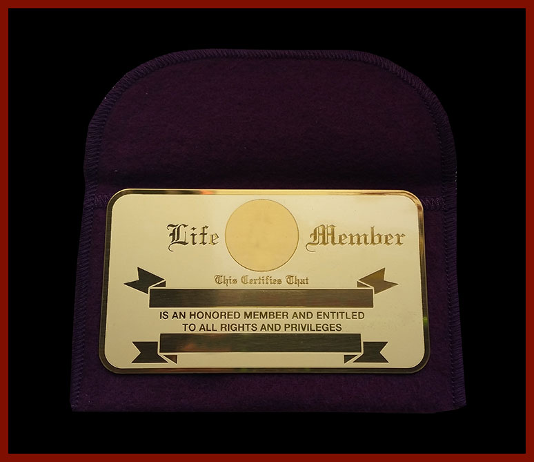 Brass Engraveable Life Member Card