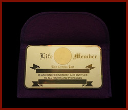 Brass Engraveable Life Member Card