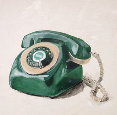 Green Vintage Phone by Andrea Holmes