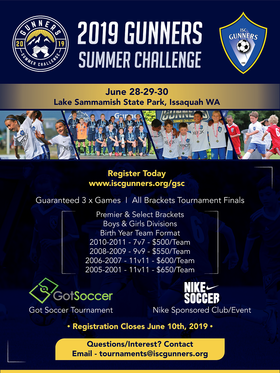 FLYER - GUNNERS SUMMER CHALLENGE JUNE 28