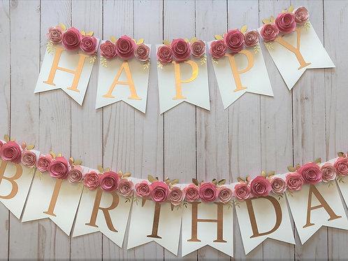 Floral Birthday Banner
