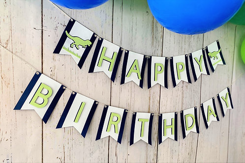 T-Rex Birthday Banner, and Cake Topper Set