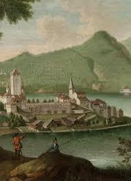 Schloss und Kirche Spiez, historisch.jpg