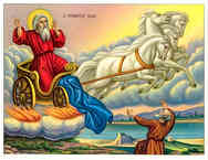 HOLY PROPHET ELIAS ON CHARIOT AND HOLY PROPHET ELISHA