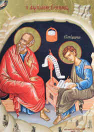APOSTLE AND EVANGELIST SAINT JOHN THE THEOLOGIAN WITH SAINT PROCHORUS THE APOSTLE, IN CAVE, FULL BODY