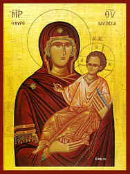VIRGIN AND CHILD, HODEGETRIA, MYROVLYTISSA (MYRRH GUSHER)