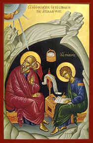 APOSTLE ΑΝD EVANGELIST SAINT JOHN THE THEOLOGIAN WITH SAINT PROCHORUS THE APOSTLE, IN CAVE, FULL BODY