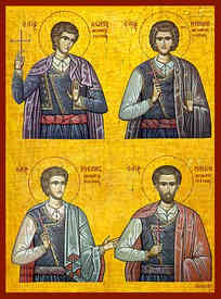 FOUR HOLY NEW MARTYRS OF RETHYMNON, GREECE, ANGELIS, MANUEL, NICHOLAS, AND GEORGE