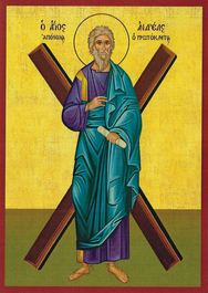 SAINT ANDREW THE APOSTLE, THE FIRST-CALLED, WITH CROSS, FULL BODY
