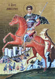 SAINT DEMETRIUS THE MYRRH-GUSHER, ON HORSEBACK