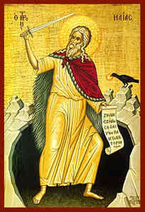HOLY PROPHET ELIAS WITH SWORD, IN CAVE, FULL BODY