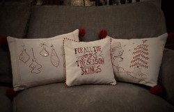 set of 3 hand embroidered pillows