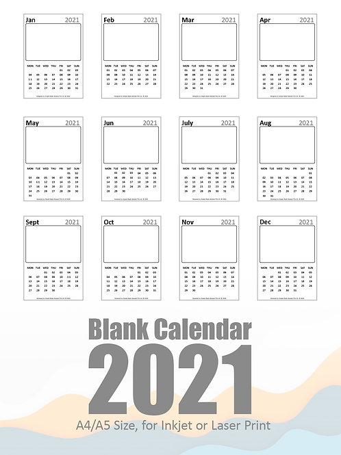 DIY Printing - 2021 Blank Calendar Artwork (A4/A5 Size)