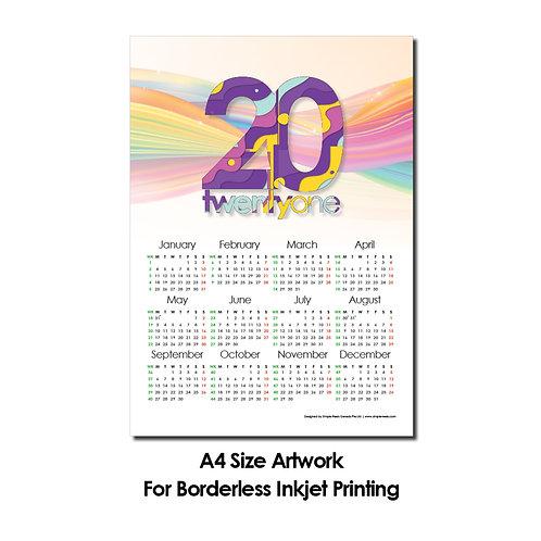DIY Printing - 2021 Calender Artwork (A4 Size, Borderless Printing)