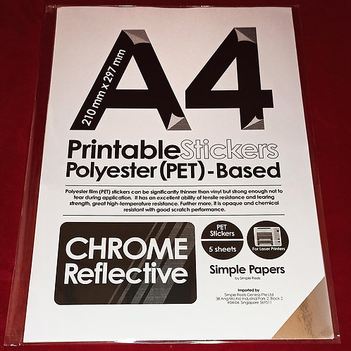 Printable Sticker Series - Chrome, Reflective / Laser (In packs of 5 sheets)