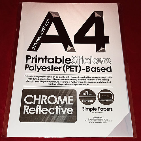Printable Sticker Series - Chrome, Reflective / Inkjet (In packs of 5 sheets)