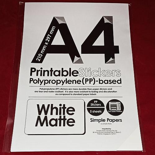 Printable Sticker Series - White, Matte / Laser (In packs of 5 sheets)