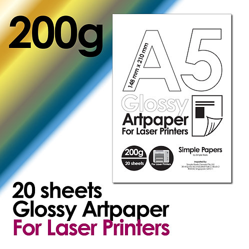 200g Double-Sided Gloss Artpaper for Laser Printing (In packs of 20 sheets)