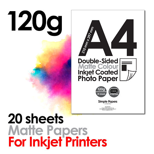 120g Double-Sided Matte Inkjet Paper (In packs of 20 sheets)