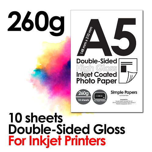 260g Double-Sided Gloss Inkjet Photo Paper (In packs of 10 sheets)