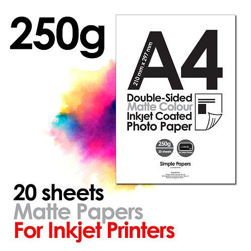 250g Double-Sided Matt Inkjet Paper (In packs of 20 sheets)