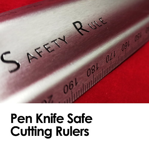 Pen-Knife Safe Cutting Rulers (30 cm), Silver