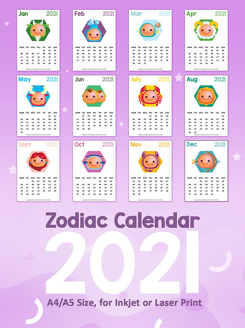 DIY Printing - 2021 Cartoon Zodiac-Based Calendar Artwork (A4/A5 Size)