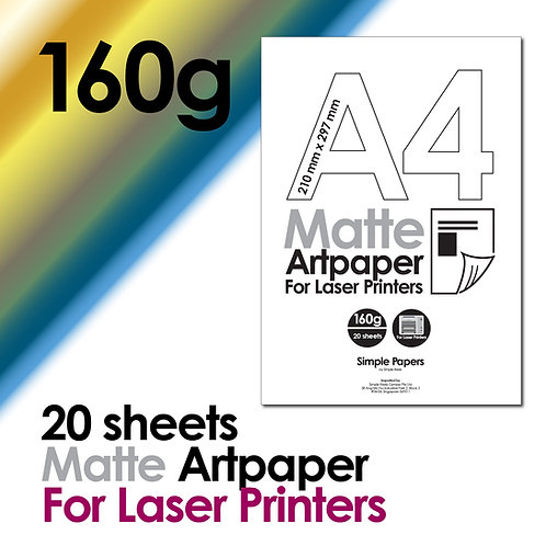 160g Double-Sided Matte Artpaper for Laser Printing (In packs of 20 sheets)