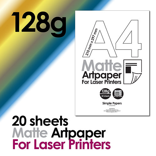 128g Double-Sided Matte Artpaper for Laser Printing (In packs of 20 sheets)