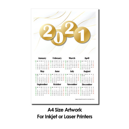 DIY Printing - 2021 Calender Artwork (A4 Size, for Inkjet or Laser Print