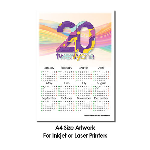 DIY Printing - 2021 Calender Artwork (A4 Size, for Inkjet or Laser Printing)