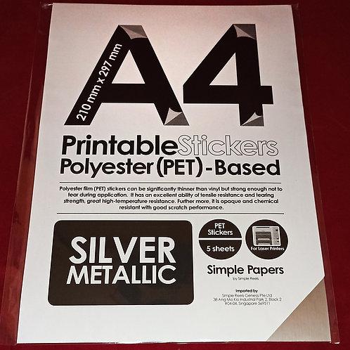 Printable Sticker Series - Silver, Metallic / Laser (In packs of 5 sheets)