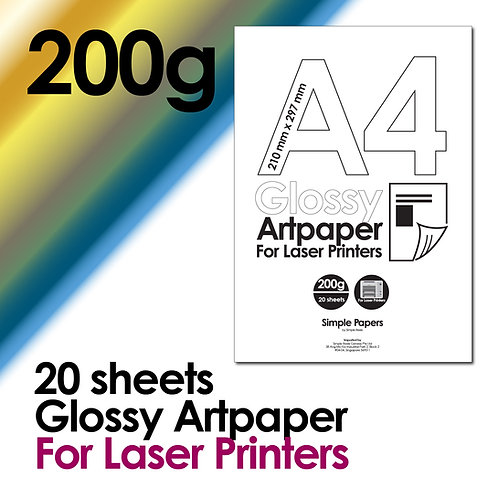 200g Double-Sided Gloss Artpaper for Laser Printing (In packs of 10 sheets)