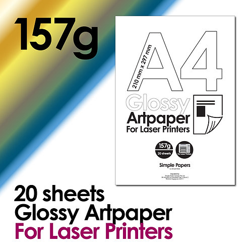157g Double-Sided Gloss Artpaper for Laser Printing (In packs of 20 sheets)
