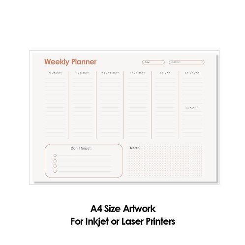 DIY Printing - Weekly Planner Artwork (A4 Size, for Inkjet or Laser Print