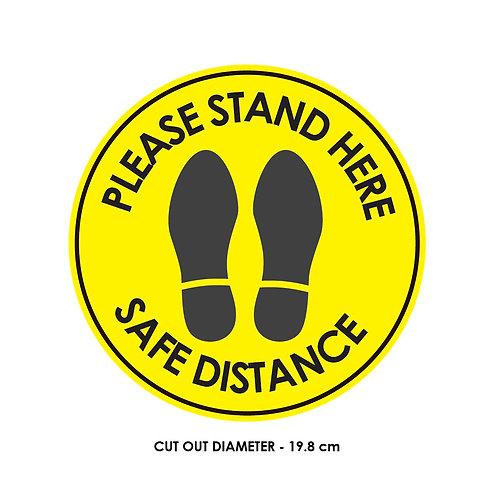 DIY Printing- Safe Distancing Rounded Floor Artwork  (19.8 cm diameter) - Yellow